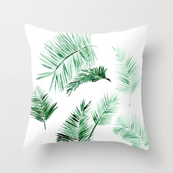 Modern Leaf Throw Pillow : Modern Palm Leaf Throw Pillow Cover palm leaf pillow by lake1221