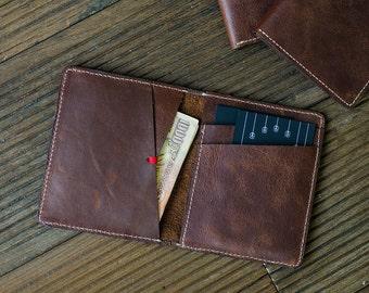 Rustic Brown Men's Slim Bi-fold Leather Wallet
