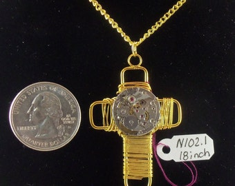 Gold Wire Wrapped Cross/Steampunk/Watch Movement