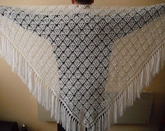 White triangle scarf shawl - mohair and acrylic unique handmade crochet