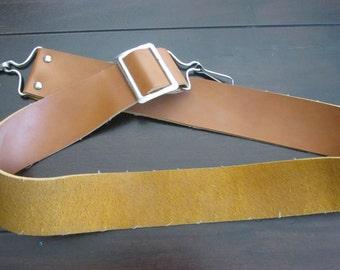 "Vintage Brown Leather Camera Strap 2"" Thick Messenger Bag Strap Purse Strap"