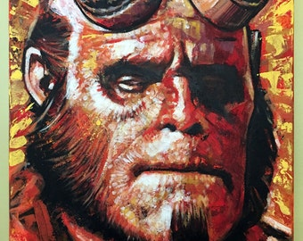 """Original, Signed Canvas Painting By James Hance - """"Big Red"""" (Hellboy)"""