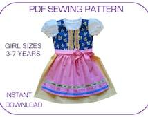3-7 yr Dirndl Pdf sewing pattern. Computer drafted. 5 sizes. Instant download. Dirndl patterns. Folk dress pattern. Hansel and Gretel.