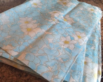"3 Vintage Rice Paper Sheets        20"" x 29"" White and Blue Gold  Floral"