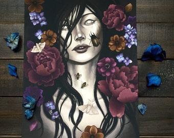 8x10 fine art print, dark floral, dark fantasy, nature inspired art, asian art, death