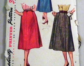 SALE 1950s Gored Skirt sewing pattern Simplicity 4375 Waist size 30""