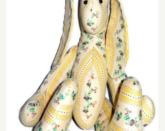 ON SALE Vintage Bunny Rabbit Folk Art Paisley Cotton Ticking @LootByLouise