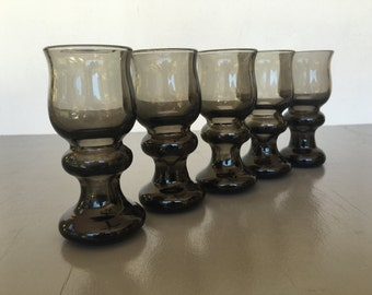 vintage blown glass shot glasses retro smoke gray set of 5