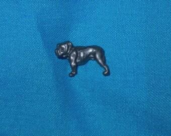 "Tiny Bulldog Pin, Lead Free Pewter, 3-D, Pewter Gray Finish, Handmade, 1/2"" X 3/8"""