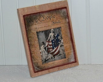Wooden Rustic Americana Sign We the People sign Free Shipping