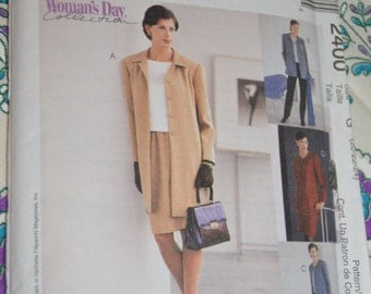 McCalls 2400 Misses Unlined Jacket in Two Lengths Top Pul On Pants Sewing Pattern - UNCUT  Size 20 22 24
