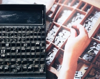 Vintage Letterpress Drawer with 150  Letterpress Letters (c.1930s) - Industrial Decor, Printing Supplies