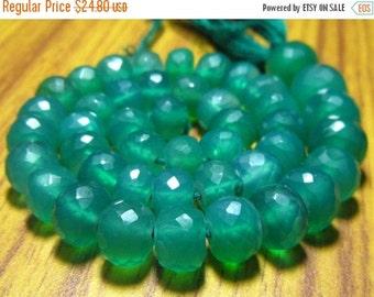 "BIG SALE Green onyx Faceted Big Rondelles- 7"" Strand -Stones measure- 6-7mm"