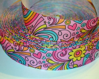"""Groovy Flower Power Pink Splash  1"""" Grosgrain Ribbon for Hair Bows, Kids Crafts, Scrapbook Deco, Cards Making, Gift Wrapping"""