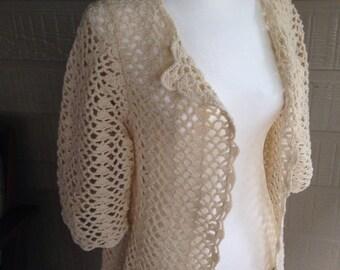 Vintage hand crocheted cardigan jacket pure wool  1970's