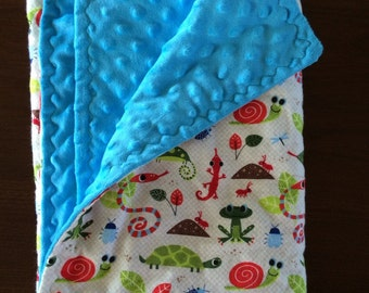 Flannel and minky blanket
