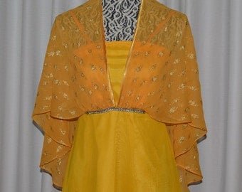 Vintage Yellow Chiffon Satin Maxi Cape Dress Evening Gown Length Dress 1970s