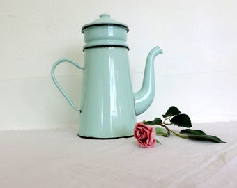Japy, vintage French, enamel coffee pot in turquoise