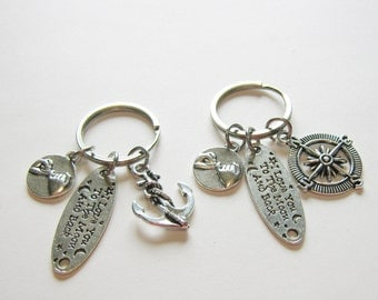 2 I Love You To The Moon And Back Compass And Anchor Pinky Promise Best Friends Keychain, Couples Keychain, BF GF Keychain, Sisters Keychain