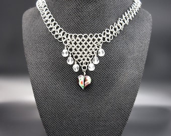 Tie Dyed Heart Chainmaille Necklace