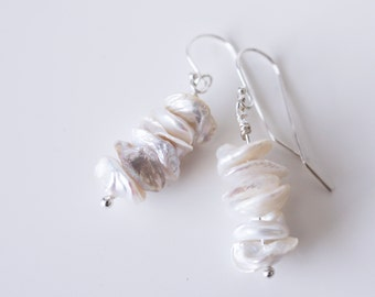 Sterling Silver Wire Wrapped Heishi Pearl Earrings . Ready To Ship