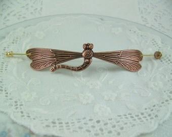 Shawl pin, Dragonfly pin, Scarf pin, Sweater pin, Dragonfly stickpin, Hat pin, Dragonfly brooch, Copper dragonfly pin, Large dragonfly pin