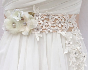 Bridal Sash-Wedding Sash In Champagne And Ivory With Crystals, Wedding Dress Sash, Bridal Belt, Rhinestone Bridal Sash-Emily
