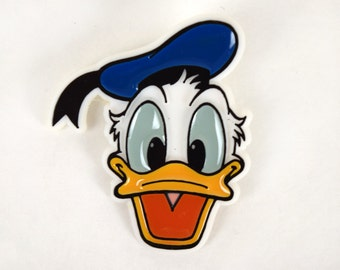 Vintage Disney  Donald Duck Plastic Pin, Pinback Button, 1.75 Inches Tall