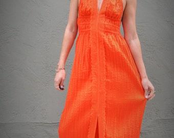 60s burnt orange pleated dress, 70s dress, burnt orange dress, hippie dress, backless dress, lace dress