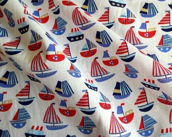 Nautical Sailboat Print Polycotton - Retro Print Fabric - Sail Boat Print - Vintage Style Fabric - Nautical Cotton Fabric - Beach Hut Fabric