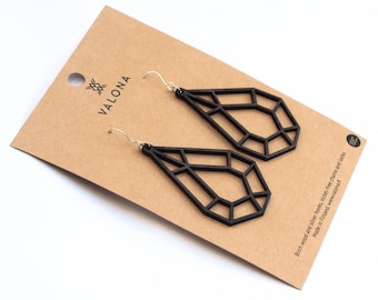 Drop crystal wooden earrings black colour