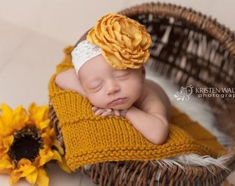 FREE SHIPPING! Mustard Yellow Flower Headband, Mustard Yellow Headbands, Mustard Yellow Baby Headbands, Yellow Baby Headbands, Baby Headband
