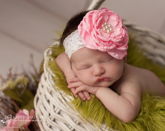 FREE SHIPPING! Pink Flower Headbands, Pink Baby Headbands, Pink Newborn Headbands, Pink Headbands, Newborn Headband, Photography Props