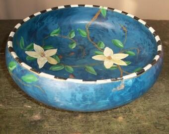 Vintage Hand Painted Wooden Bowl Blue Floral