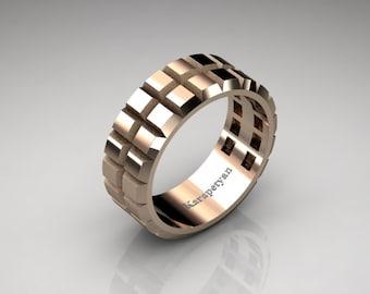 mens modern 14k rose gold edge gear solid wedding band g10164 14krg - Gear Wedding Ring