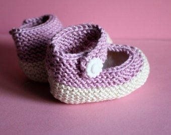 Hand Knitted Pink and Cream Pink Baby Booties 3 - 6 months  ( Mary Jane) Quality Organic Baby Cotton