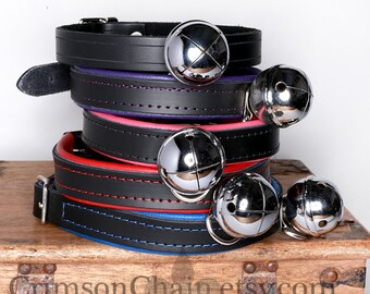 Lined bell collar in many colors by Crimson Chain Leatherworks