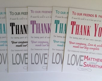 Personalised Thank You Cards (20 Pack)  with white envelope, Wedding, Engagement - 5 colour choices