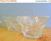 CLEARANCE Midcentury Punch Glasses, Starburst Glass Mugs