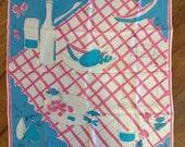 Vintage Vera Neumann scarf Summer picnic signed designer pink blue turquoise white acetate square mod pop modern 60's fashion accessory