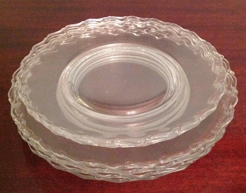 Set Of 6 Fostoria Clear Glass Plates Luncheon Salad Dessert