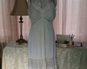 RESERVED For Theresa B Van Raalte Opaquelon 1950's Boudoir Full Slip Pleated Lace Size 38A Vintage Lingerie Ivory