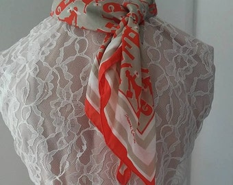 Scarve Jeanne Carens Vintage Accessories Orange Taupe Beige