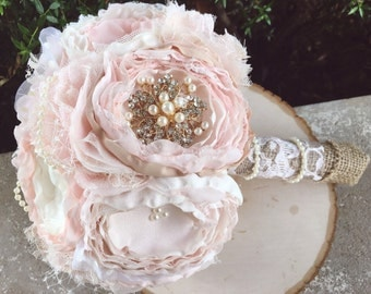 Rose gold brooch bouquet, blush fabric bouquet, vintage lace fabric bouquet