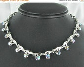 This item is ON SALE Aurora Borealis AB Rhinestone  choker Necklace silver tone prom jewelry hook clasp