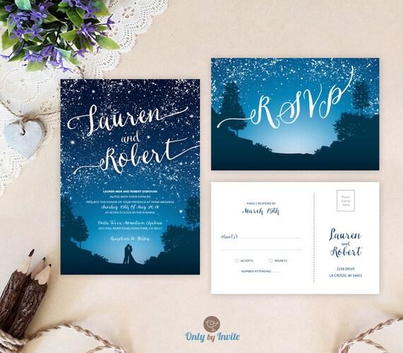 Star Night Wedding Theme: Starry Night Wedding Invitations And Rsvp Cards Mountain