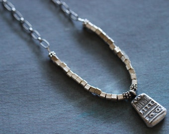 Silver Beaded Necklace, Thai Silver, Silver Jewelry, Hill Tribe Silver,  Sterling Silver, Tribal, Rustic, Beaded, Chain, OOAK