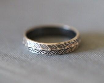 SARA: Sterling Silver, 5mm wide, Wedding Ring, Botanical, Wheat, Modern, Minimal, Rustic, Bohemian,  Made To Order