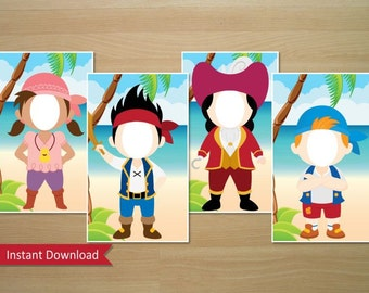 Jake And The Neverland Pirates Photo Booth Prop (Jake, Izzy, Cubby & Captain Hook) - Instant Download (Digital File)
