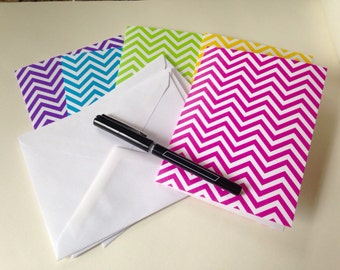 Bright Contemporary Stationery,  Note Card Set of 5, Blank Cards, Chevron Pattern Cards, Thank You Cards, All Occasion Cards with envelopes